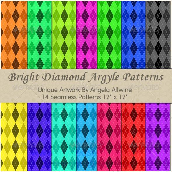 Bright Diamond Argyle Pattern Set - Patterns Backgrounds