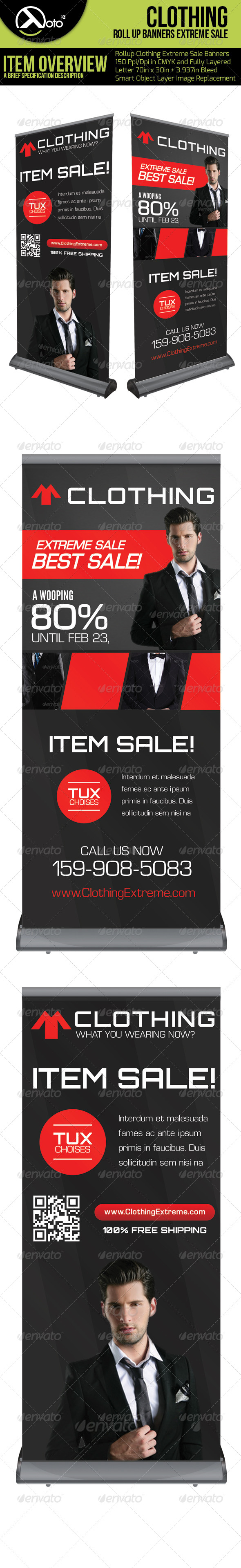 Clothing Extreme Sales Roll Up - Signage Print Templates