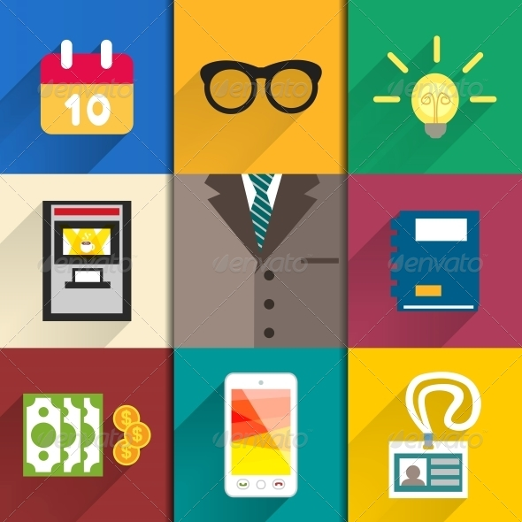 Icons Set of Office Accessories - Web Elements Vectors