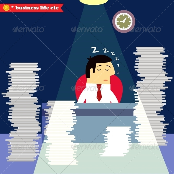 Businessman Sleeping at the Desk - Concepts Business