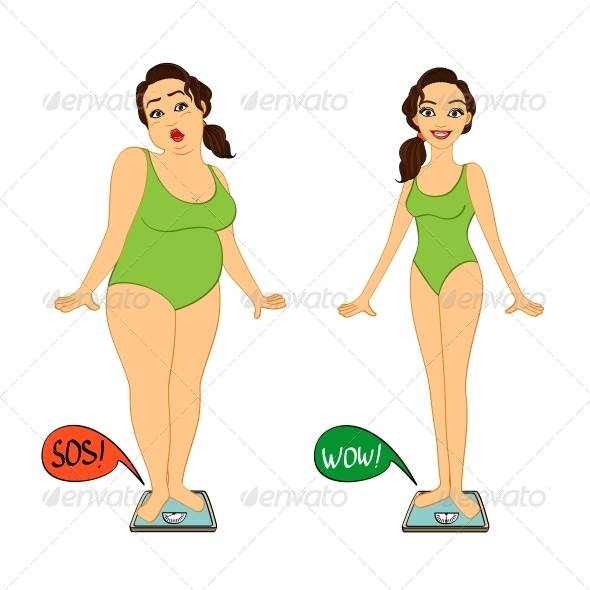 Fat and Slim Woman on Weight Scales - Sports/Activity Conceptual