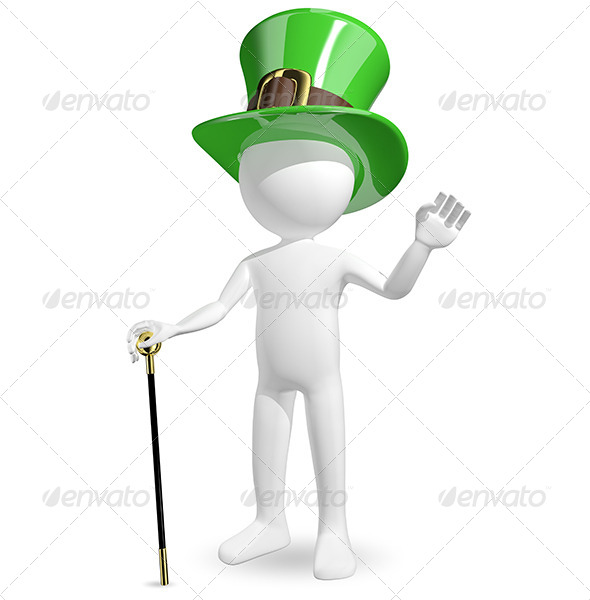 Man in Hat St. Patrick's - Characters 3D Renders