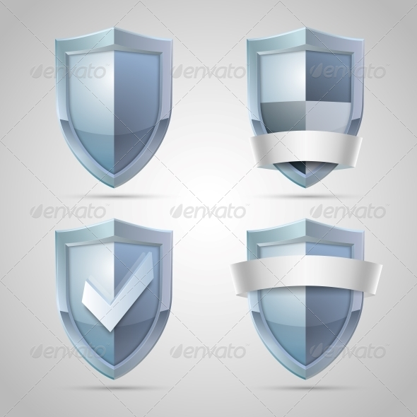 Set of Shield Icons - Web Technology