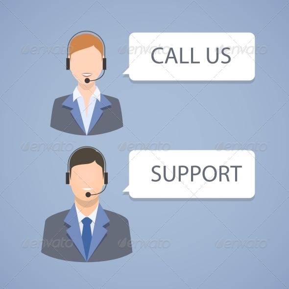 Call Center Support Emblem - Concepts Business