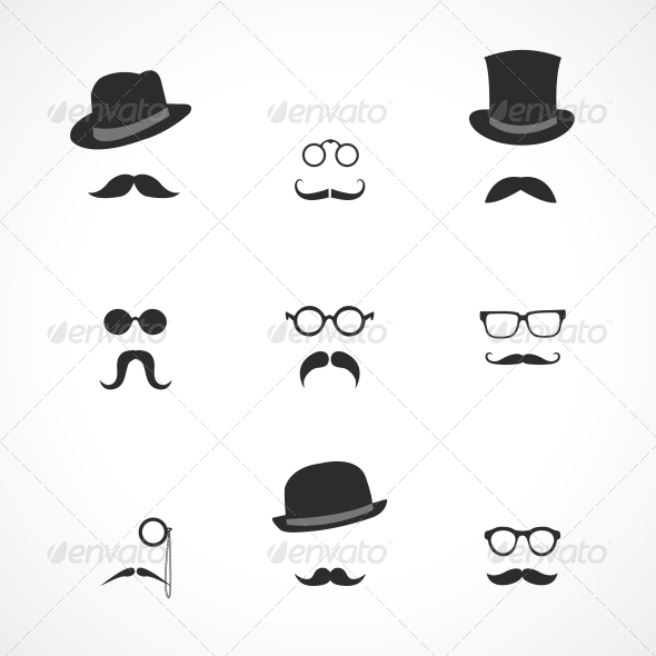 Interface Elements Mustaches Hats and Glasses - Web Technology