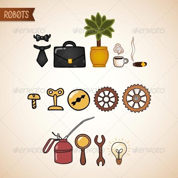 Steampunk Technology Icons Set - Web Elements Vectors