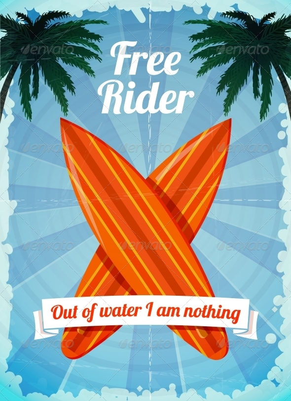 Free Rider Surfboards Poster - Travel Conceptual