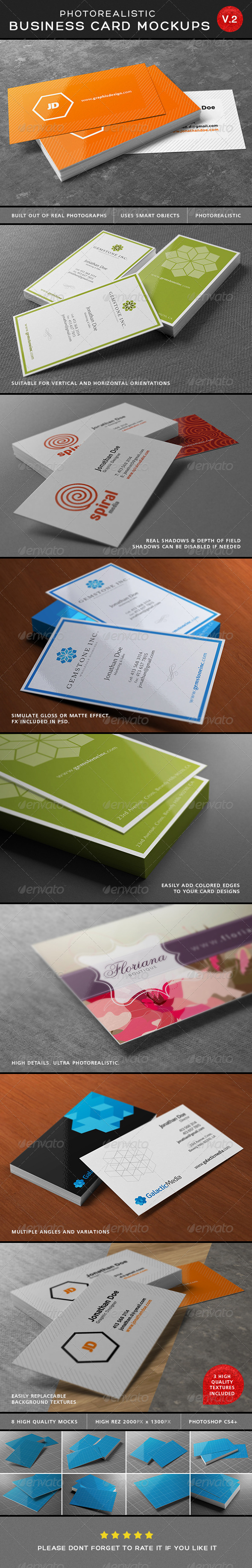 Ultimate Photorealistic Business Card Mockups V2 - Business Cards Print