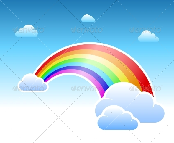 Abstract Rainbow and Clouds Symbol - Miscellaneous Conceptual