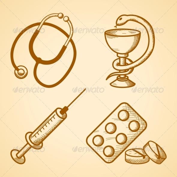 Icons Set of Medical Items - Health/Medicine Conceptual