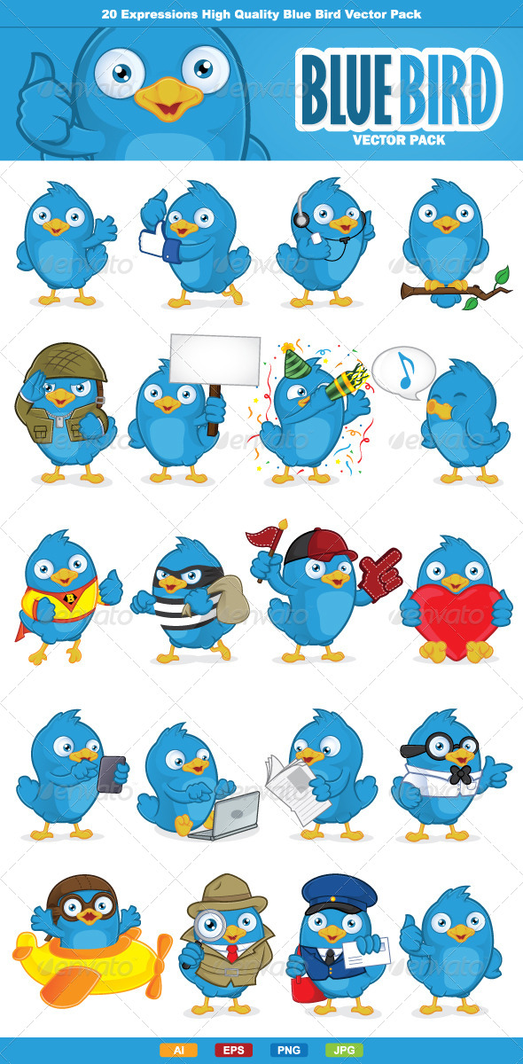 Blue Bird Vector Pack - Animals Characters