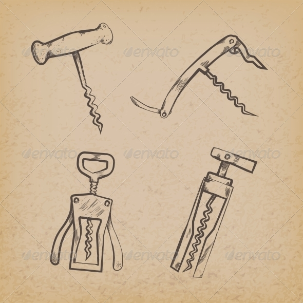 Collection of Retro Corkscrews - Decorative Symbols Decorative