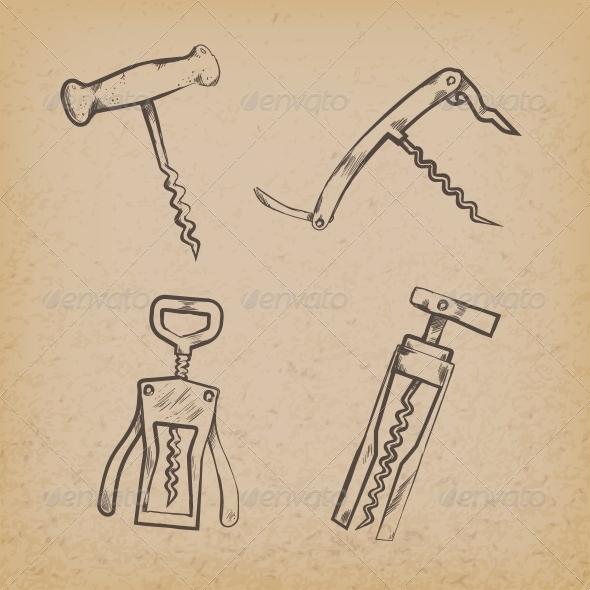 Collection of Retro Corkscrews - Decorative Symbols Decorative