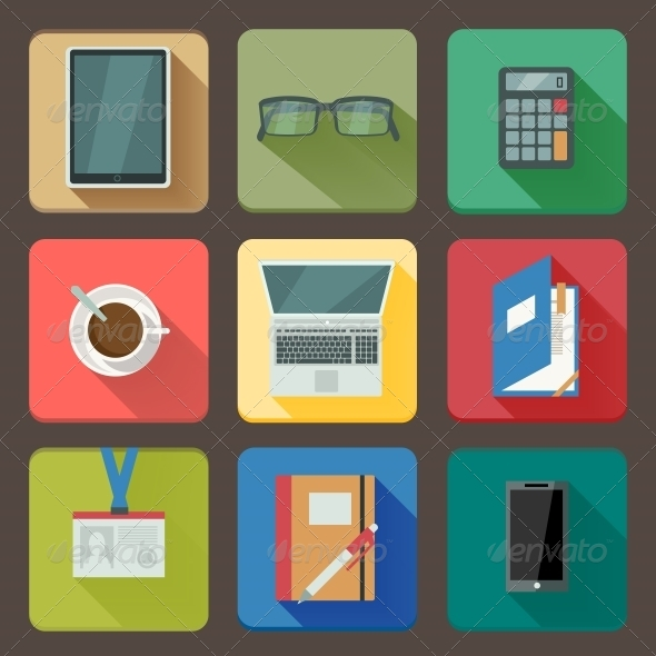 Business Set of Workplace Icons - Web Icons