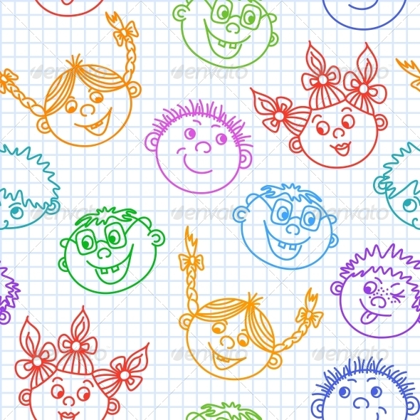 Seamless Doodle Smiling Kids Faces Pattern - Backgrounds Decorative