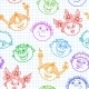 Seamless Doodle Smiling Kids Faces Pattern