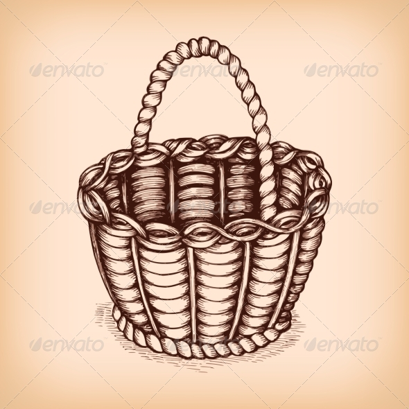 Wicker Basket Emblem - Decorative Symbols Decorative