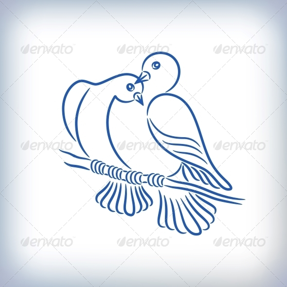 Symbol of Two Pigeons - Animals Characters