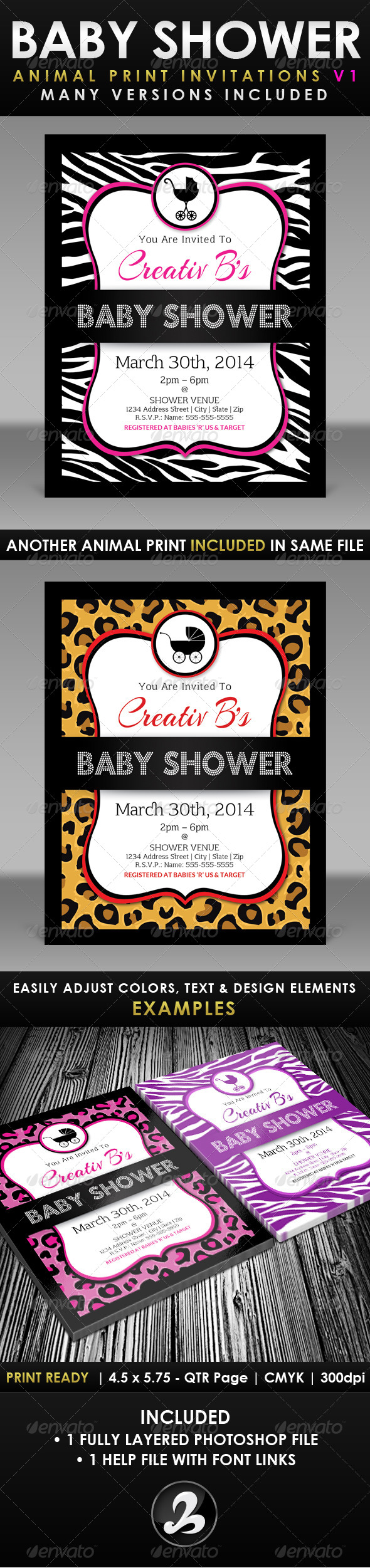 Baby Shower Invitation Template - Animal Print v1 - Invitations Cards & Invites