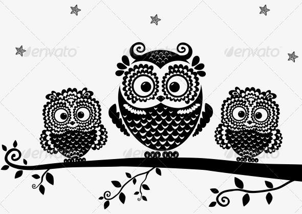 Owl Black - Animals Characters