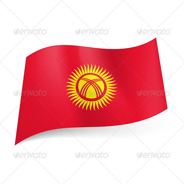 State Flag of Kyrgyzstan - Decorative Symbols Decorative