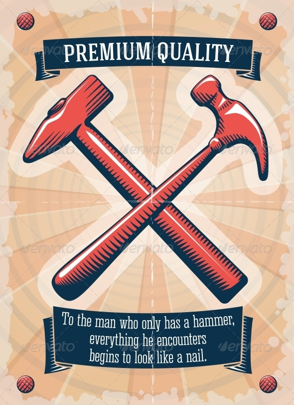 Two Retro Hammers Tool Shop Poster - Backgrounds Decorative