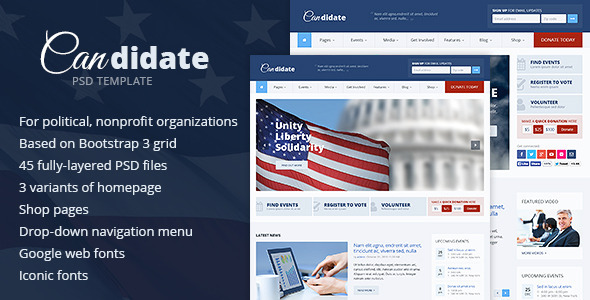 Candidate – Political / Nonprofit PSD Template