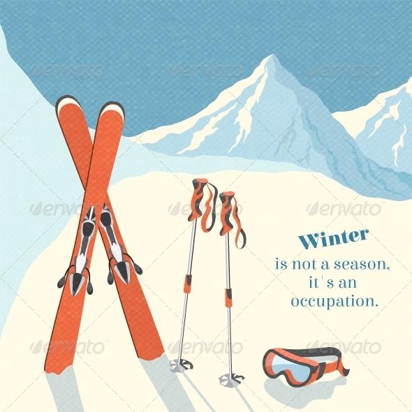 Ski Winter Mountain Landscape Background - Miscellaneous Seasons/Holidays