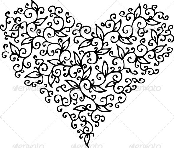Romantic Heart Vignette CXXXIII - Decorative Symbols Decorative