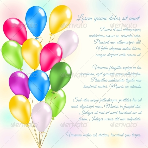 Colorful Balloons Invitation Card - Miscellaneous Seasons/Holidays