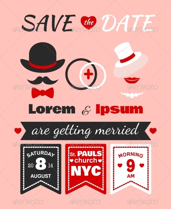 Hipster wedding invitation card by macrovector graphicriver hipster wedding invitation card stopboris Image collections