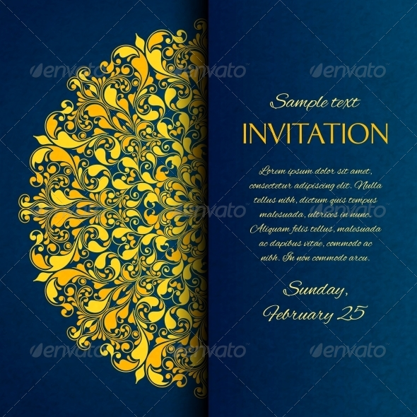 Ornamental Blue with Gold Embroidery Invitation Ca - Backgrounds Decorative