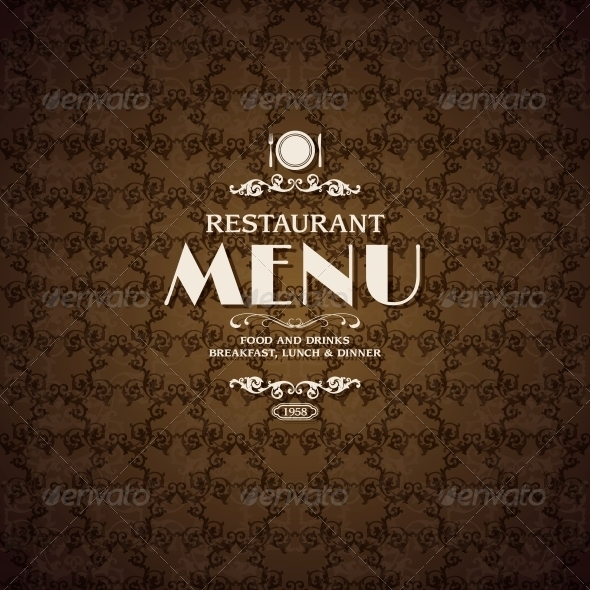 Restaurant Cafe Menu Cover Template - Food Objects