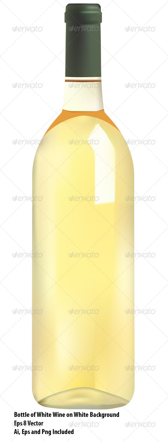 White Wine Bottle - Food Objects
