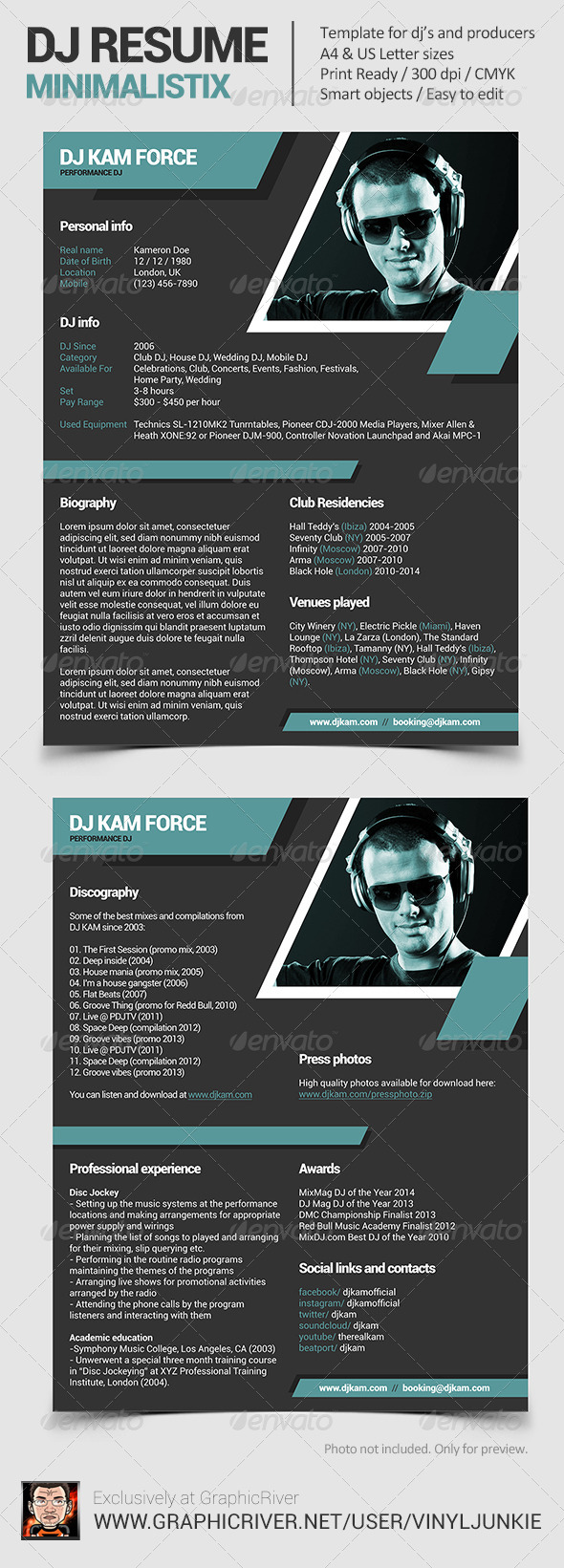 Minimalistix - DJ Resume / Press Kit - Resumes Stationery