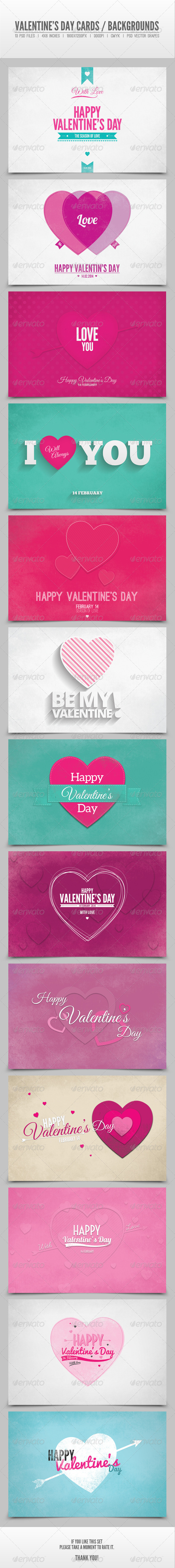 Valentine's Day Cards / Backgrounds Vol.3 - Backgrounds Graphics
