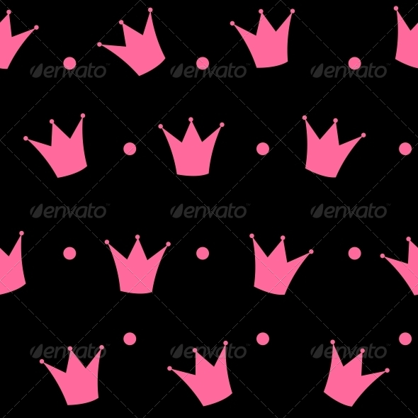 Princess Crown Seamless Pattern Background Vector  - Patterns Decorative