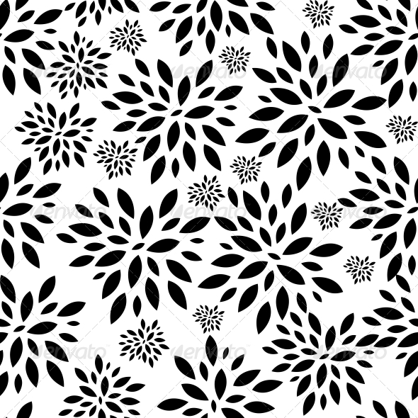 Flower Leaves Seamless Pattern Background Vector - Patterns Decorative