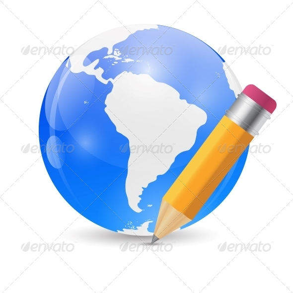 Yellow Pencil and Globe Publish Icon Vector  - Concepts Business