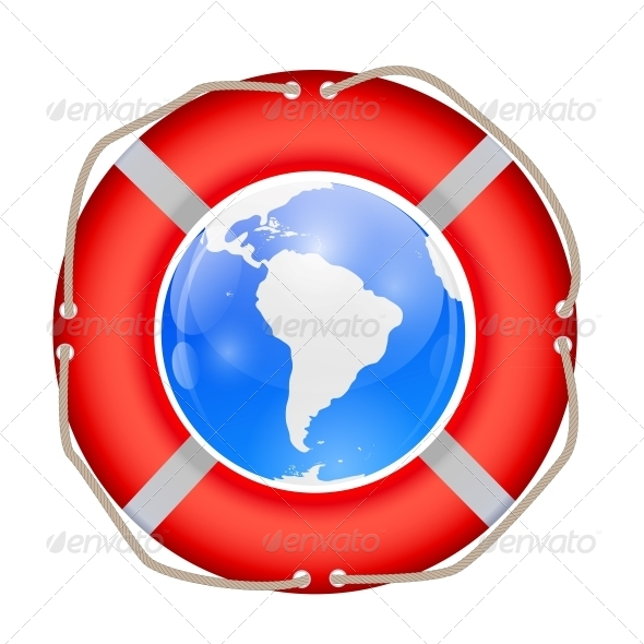 Globe in Lifebuoy. Vector Illustration. - Web Technology