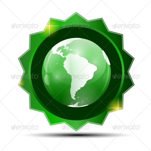 Vector Illustration of Green Label with Globe Map - Web Technology