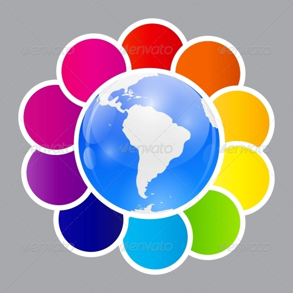 Concept of Colorful Circular Banners - Web Technology