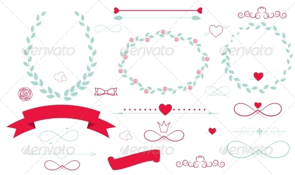 Set of Wedding Graphics with Arrows, Hearts and Ribbons - Decorative Symbols Decorative