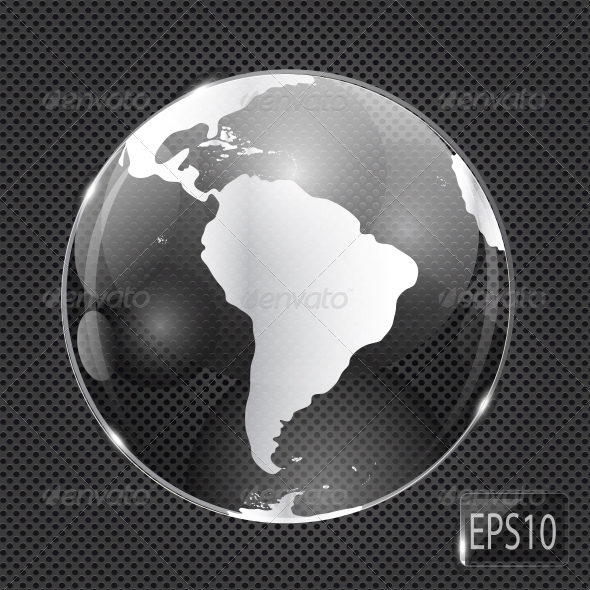 Glass Globe Icon on Metal Background - Vector - Web Technology