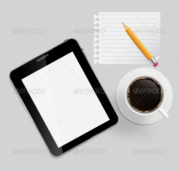 Abstract Design Tablet, Coffee, Pencil, Blank Page - Web Technology