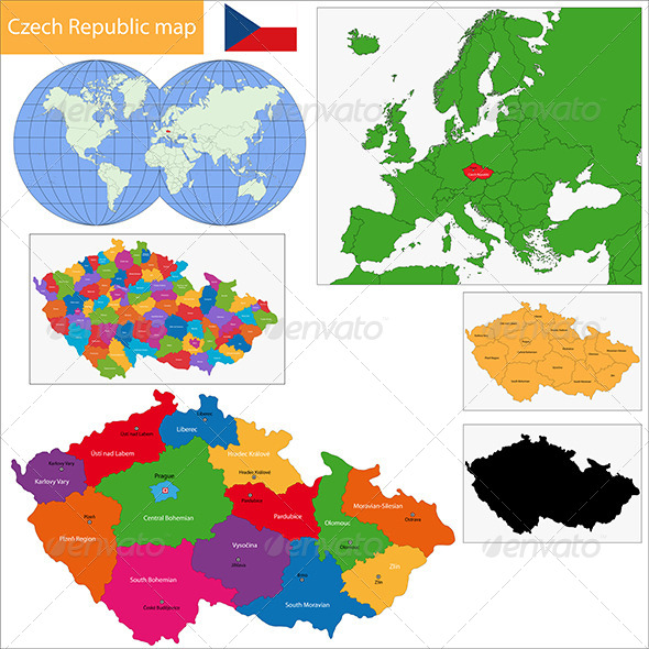 Czech Republic Map - Travel Conceptual