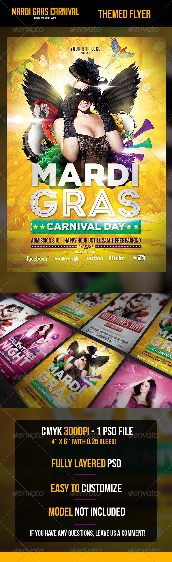 Mardi Gras Flyer Template - Flyers Print Templates