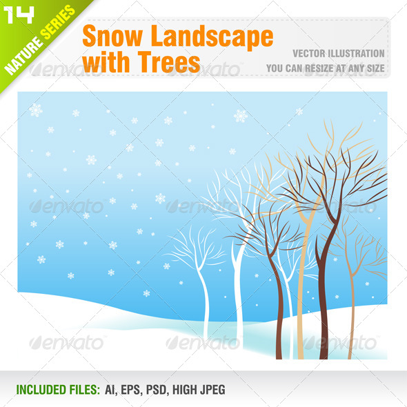 Snow Landscape with Trees - Landscapes Nature