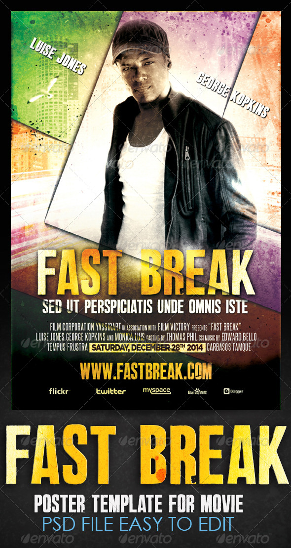 Fast Break Movie Flyer Template - Events Flyers
