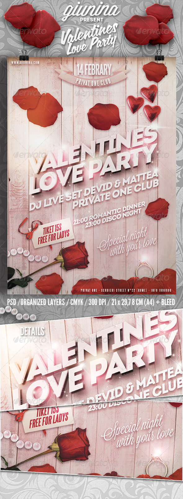 Valentines Love Party Flyer/Poster - Events Flyers